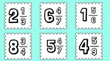 Improper Fractions and Mixed Numbers Matching Game