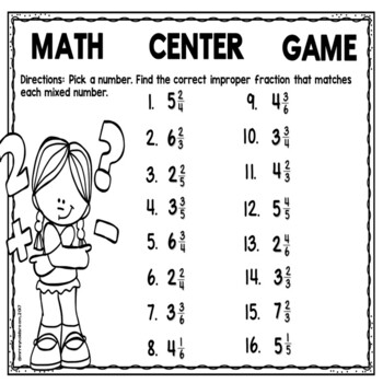 Mixed Numbers and Improper Fractions Math Center Game