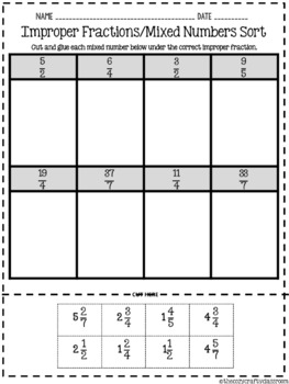 Improper Fractions and Mixed Numbers Sort