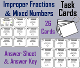 Improper Fractions Task Cards 4th 5th 6th 7th Grade