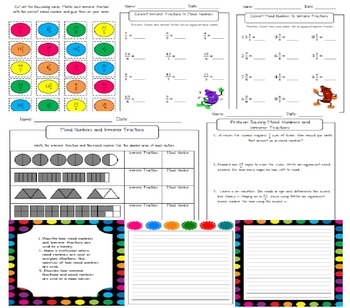 Improper Fractions and Mixed Numbers Worksheets and Activities