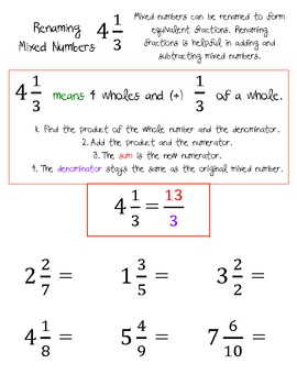 Improper Fractions and Renaming Mixed Numbers Worksheets by Taylor ...