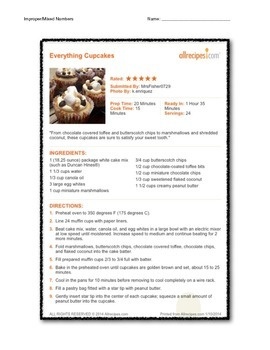 Improper Fractions/Dividing Fractions with CUPCAKE RECIPES