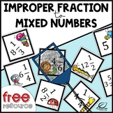Improper Fractions to Mixed Numbers {Spring Math FREE}