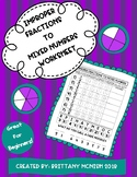 Improper Fractions to Mixed Number Worksheet