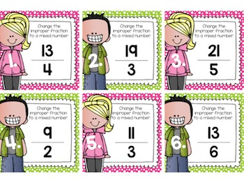 Improper Fractions to Mixed Numbers Task Cards for Centers, Scoot, & Test Prep