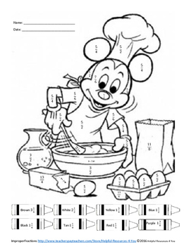Improper Fractions to Mixed Numbers Coloring Sheet by Ms Wedels Math ...