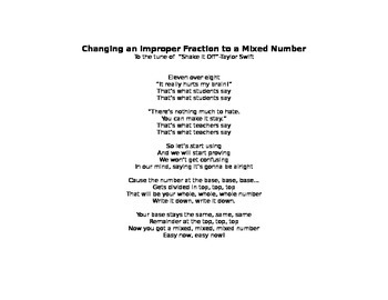 Improper Fractions to Mixed Numbers Lyrics to Shake it Off