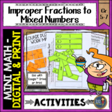 Improper Fractions to Mixed Numbers Math Activities Google Slides and Printable