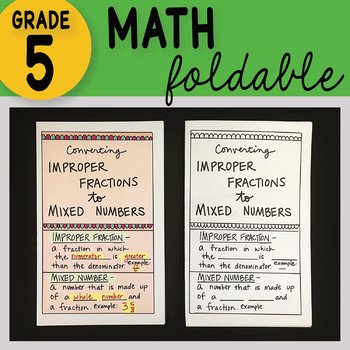 Improper Fractions to Mixed Numbers Math Interactive Notebook Foldable