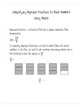 Improper Fractions to Mixed Numbers Notes and Practice