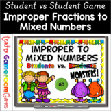 Improper Fractions to Mixed Numbers Powerpoint Game Distan