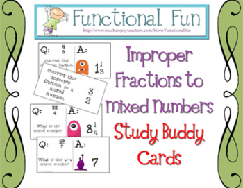 Improper Fractions to Mixed Numbers Study Buddy Cards