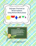 Improper Fractions with Pattern Blocks Task Cards 4.NF.3 Grades 3-5