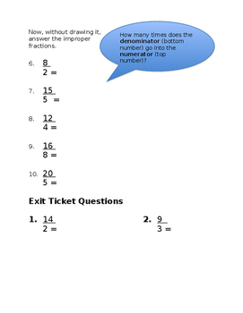 Improper Fractions worksheet