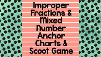 Improper & Mixed Number Scoot Game & Anchor Charts [CC Aligned]