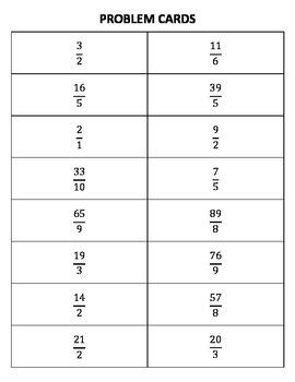 Improper Numbers to Mixed Numbers Bingo