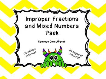 Improper and Mixed Number Fraction Activity and Worksheet Bundle