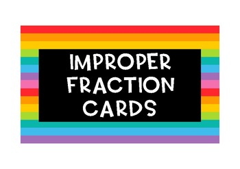Improper fraction flash cards {60 cards}