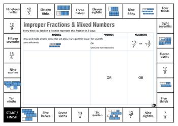 Improper fraction & mixed number game