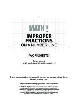 Improper fractions on a number line