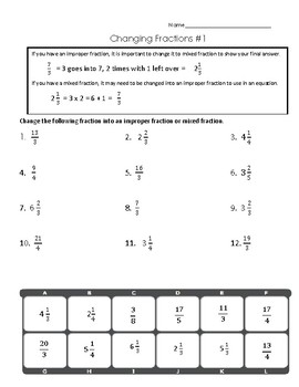 Improper to Mixed Fractions and Vice Versa
