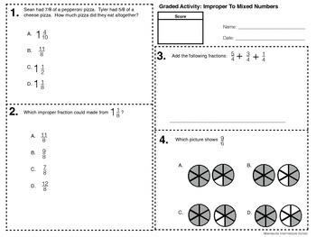 Improper to Mixed Numbers (5.NF.1 & 5.NF.2)