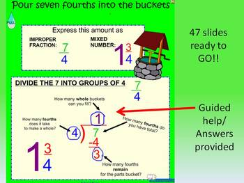 Improper/Mixed numbers FILL THE BUCKET Smartboard activity