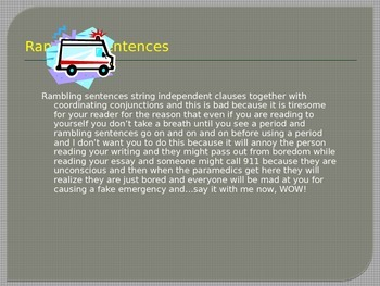 Improve Student Writing: Rambling Sentences Powerpoint