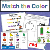 Vocabulary: Kindergarten Color Matching Printable Activities