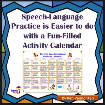 Speech-Language Activities Calendar
