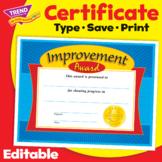 Improvement Award Certificate | Print & Digital
