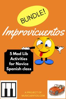 Improvicuentos BUNDLE: 5 Spanish Novice mad lib activities!