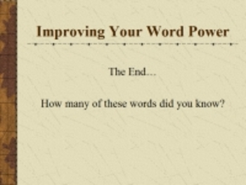 Improving Your Word Power PowerPoint Volume One, Vocabulary