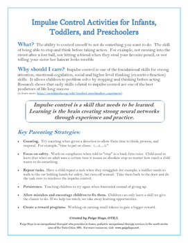 Impulse Control for Infants, Toddlers, and Preschoolers