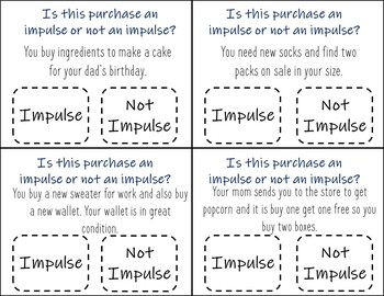 Impulse Or Not an Impulse? Task Cards