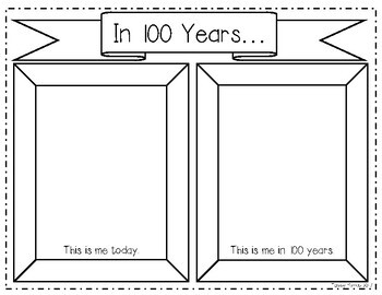 In 100 Years... 100th Day of School Writing & Photo Frame
