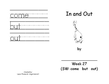 In And Out  Sight Word Book - Week 27