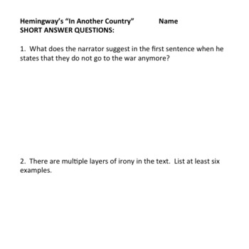 In Another Country - Review Short Answer Test Assessment, World War I, AP