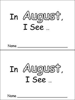 In August Emergent Reader Preschool Kindergarten Months of the Year