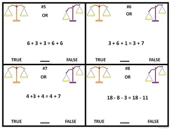 "In Balance or Out of Balance Scale ""True or False"" (Equality)"