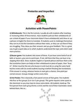In-Class Activity: Preterite vs. Impefect - Five different games