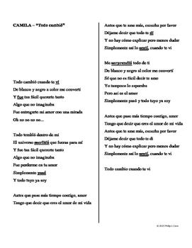 "In-Class Activity: Preterite vs. Imperfect Song (""Todo Cambió""- Camila)"