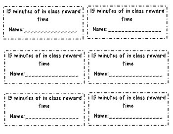 In Class Reward Ticket