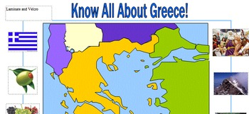 In-Class Support Map of Greece Laminated Pre- and Post assessment included