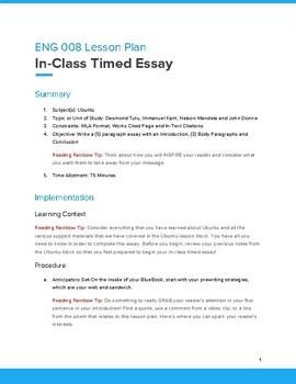 In-Class Timed Essay on Ubuntu
