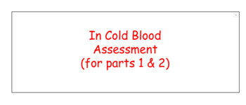 In Cold Blood Assessment Parts 1 & 2