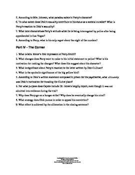 In Cold Blood Study Guide - Close Reading Focus