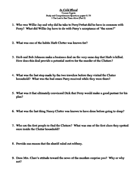 In Cold Blood by Truman Capote - Study Guide Questions and Answers