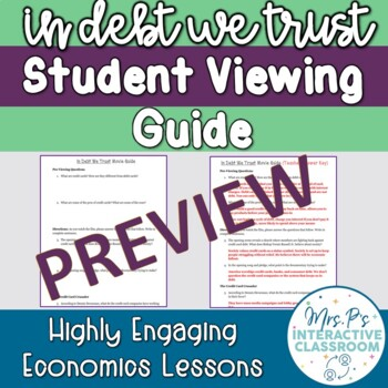 In Debt We Trust Student Viewing Guide (Credit Cards & Lending Practices)